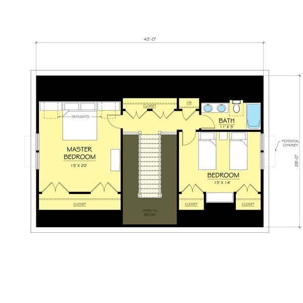 Colonial Floor Plan - Upper Floor Plan #903-1