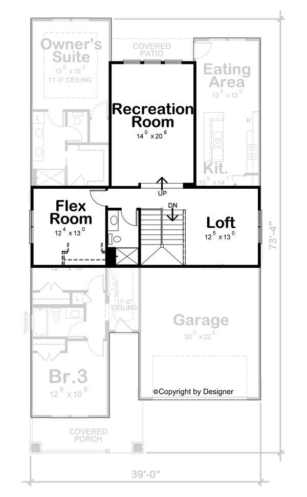 House Plan Design - Craftsman Floor Plan - Upper Floor Plan #20-2431