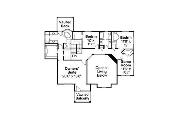 Craftsman Floor Plan - Upper Floor Plan Plan #124-1000