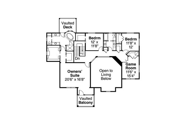 Craftsman Floor Plan - Upper Floor Plan Plan #124-1000