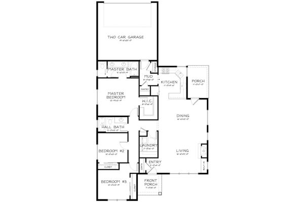 Craftsman Style House Plan - 3 Beds 2 Baths 1490 Sq/Ft Plan #895-15 Floor Plan - Main Floor Plan