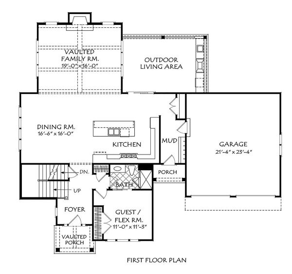 Traditional Floor Plan - Main Floor Plan Plan #927-1005