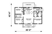 Craftsman Style House Plan - 2 Beds 2 Baths 1311 Sq/Ft Plan #44-225 Floor Plan - Main Floor Plan