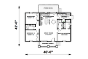 Craftsman Style House Plan - 2 Beds 2 Baths 1311 Sq/Ft Plan #44-225 Floor Plan - Main Floor