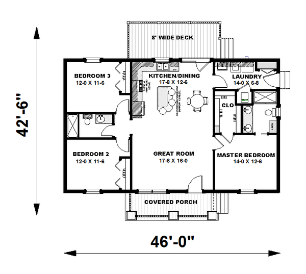 Craftsman Floor Plan - Main Floor Plan Plan #44-225
