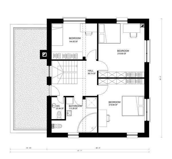 Contemporary Floor Plan - Upper Floor Plan #906-19
