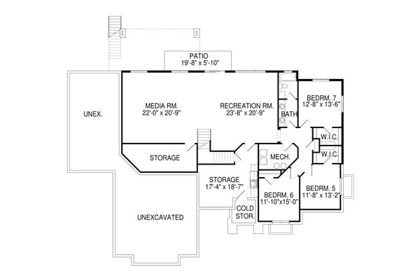 Contemporary Floor Plan - Lower Floor Plan Plan #920-93
