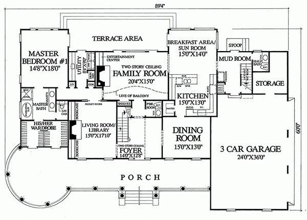 Southern Floor Plan - Main Floor Plan Plan #137-128