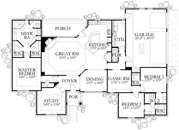 House Plan Design - European Floor Plan - Main Floor Plan #80-162