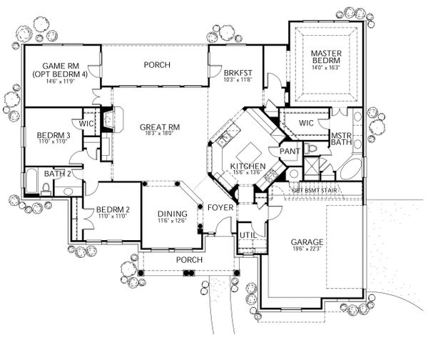 Traditional Floor Plan - Main Floor Plan Plan #80-118
