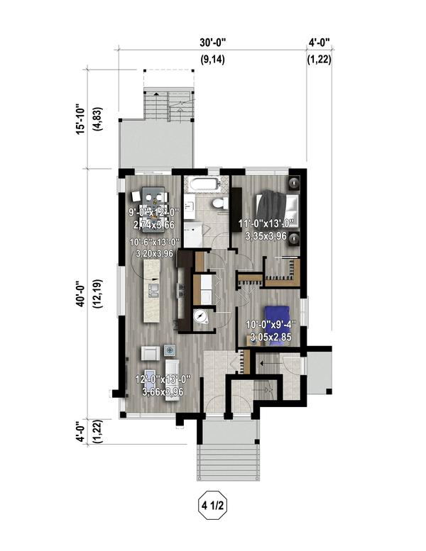 Contemporary Floor Plan - Main Floor Plan Plan #25-4555