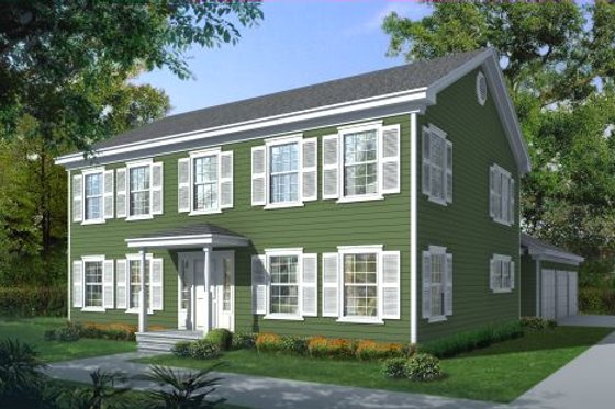 Colonial Exterior - Front Elevation Plan #100-451