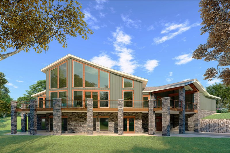Contemporary Style House Plan - 3 Beds 2.5 Baths 3719 Sq/Ft Plan #923-86 Exterior - Rear Elevation