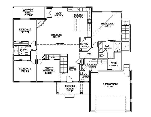 Dream House Plan - Country Floor Plan - Main Floor Plan #1073-23