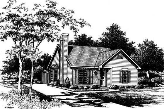 Cottage Exterior - Front Elevation Plan #30-195