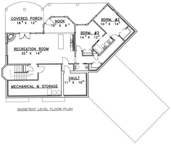 Bungalow Floor Plan - Lower Floor Plan Plan #117-578