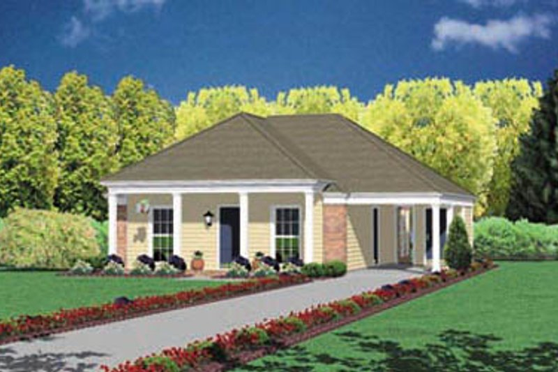Southern Style House Plan - 2 Beds 1 Baths 1007 Sq/Ft Plan #36-102 Exterior - Front Elevation