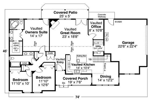 House Plan Design - Ranch Floor Plan - Main Floor Plan #124-1209