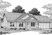 Traditional Style House Plan - 3 Beds 2 Baths 1206 Sq/Ft Plan #70-102 Exterior - Front Elevation
