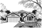 European Style House Plan - 3 Beds 2 Baths 1280 Sq/Ft Plan #417-110 Exterior - Other Elevation