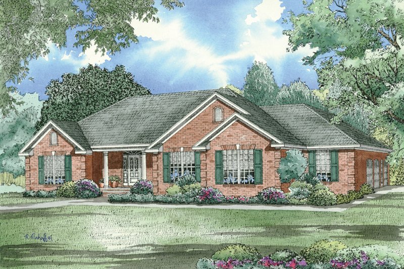House Plan Design - Traditional, Southern style home design, elevation