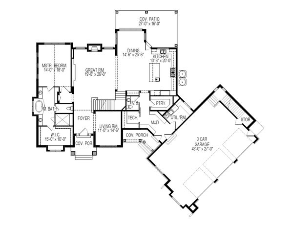 Traditional Floor Plan - Main Floor Plan Plan #920-81