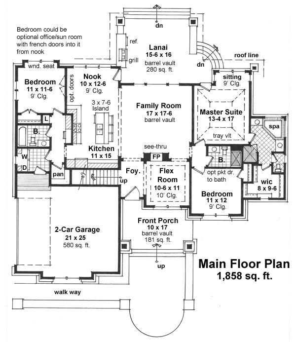 Craftsman Style House Plan - 3 Beds 3 Baths 1858 Sq/Ft Plan #51-523 Floor Plan - Main Floor Plan