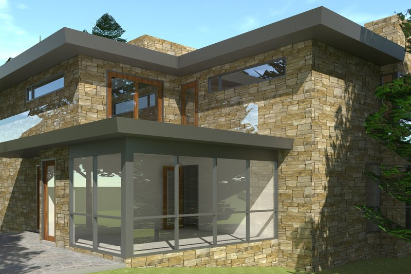 Modern Exterior - Rear Elevation Plan #64-197 - Houseplans.com