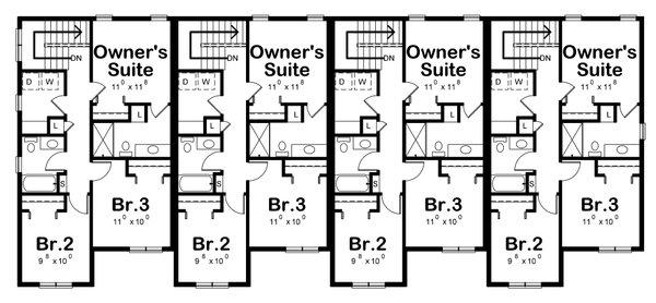 Contemporary Floor Plan - Upper Floor Plan #20-2464
