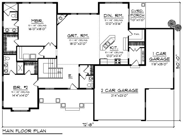 Craftsman Floor Plan - Main Floor Plan Plan #70-1271
