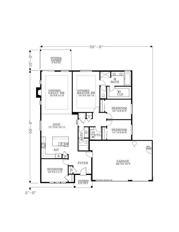 Craftsman Floor Plan - Main Floor Plan Plan #53-625