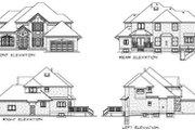 European Style House Plan - 4 Beds 3 Baths 2851 Sq/Ft Plan #47-375 Exterior - Rear Elevation
