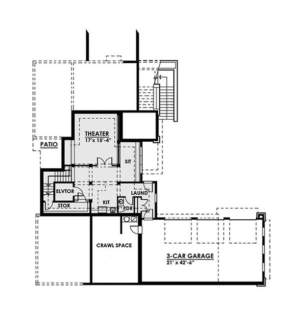 Contemporary Floor Plan - Lower Floor Plan Plan #1066-39