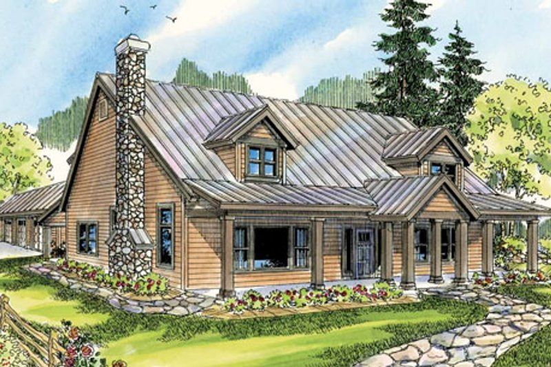 Country Exterior - Front Elevation Plan #124-771 - Houseplans.com