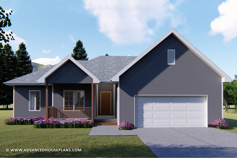 Ranch Style House Plan - 3 Beds 2 Baths 1381 Sq/Ft Plan #455-224 Exterior - Front Elevation