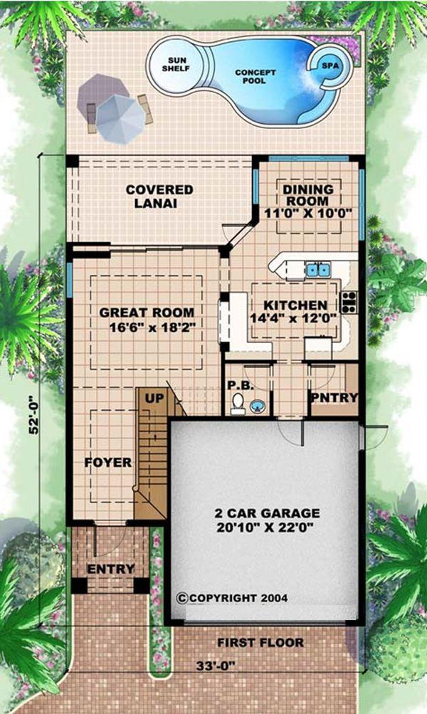 Mediterranean Floor Plan - Main Floor Plan Plan #27-483