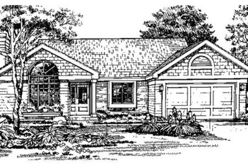 Ranch Style House Plan - 3 Beds 2 Baths 1325 Sq/Ft Plan #320-367 Exterior - Front Elevation