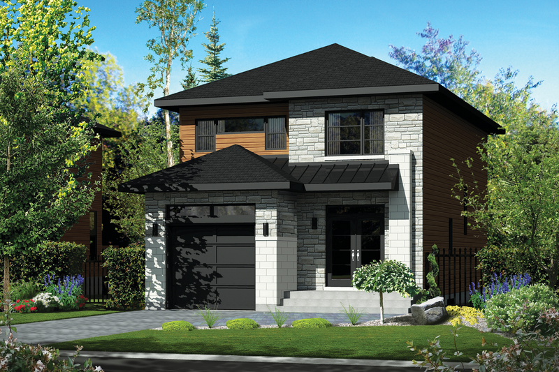 Contemporary Style House Plan - 3 Beds 1 Baths 1761 Sq/Ft Plan #25-4288 Exterior - Front Elevation