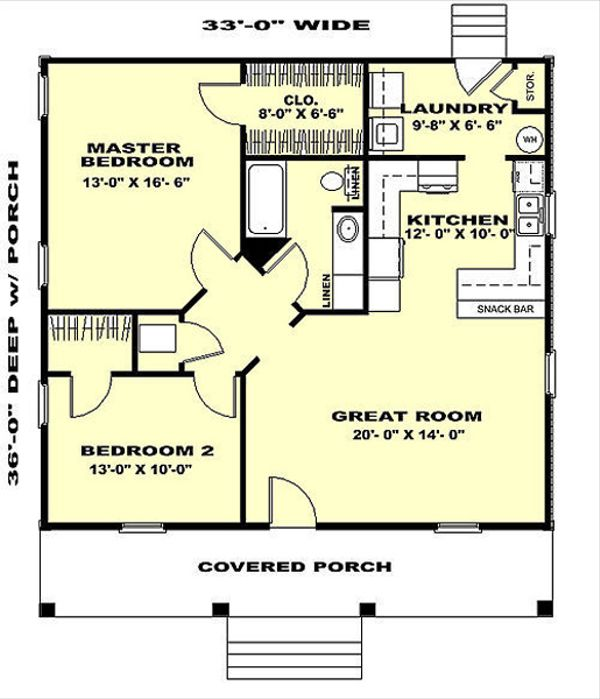 Country Style House Plan - 2 Beds 1 Baths 1007 Sq/Ft Plan #44-158 Floor Plan - Main Floor Plan