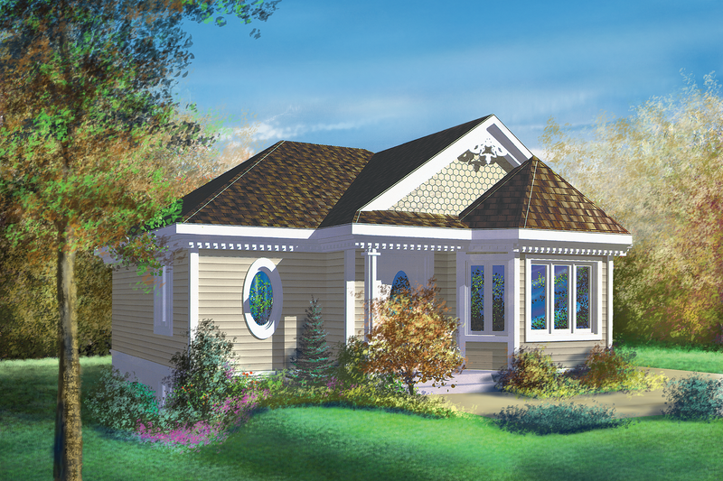 Cottage Style House Plan - 1 Beds 1 Baths 890 Sq/Ft Plan #25-1227 Exterior - Front Elevation