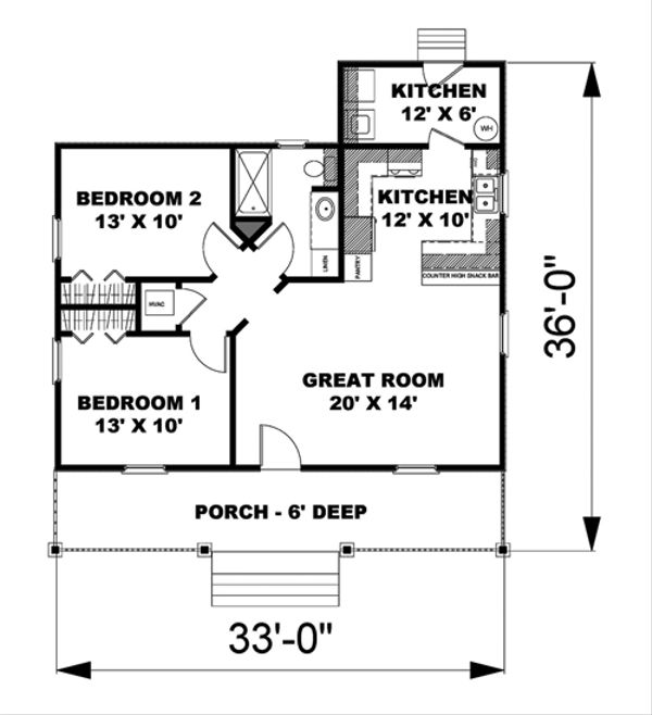 Cottage Floor Plan - Main Floor Plan Plan #44-114
