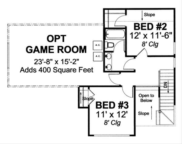 Traditional Floor Plan - Upper Floor Plan Plan #513-2052
