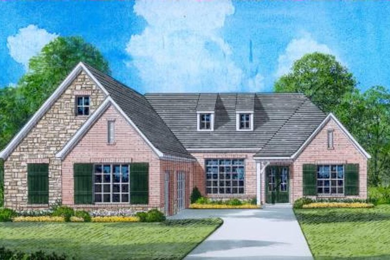 European Style House Plan - 4 Beds 3 Baths 2731 Sq/Ft Plan #424-25 Exterior - Front Elevation
