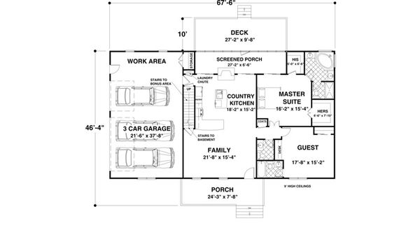 Country Style House Plan - 2 Beds 2.5 Baths 1500 Sq/Ft Plan #56-643 Floor Plan - Main Floor Plan