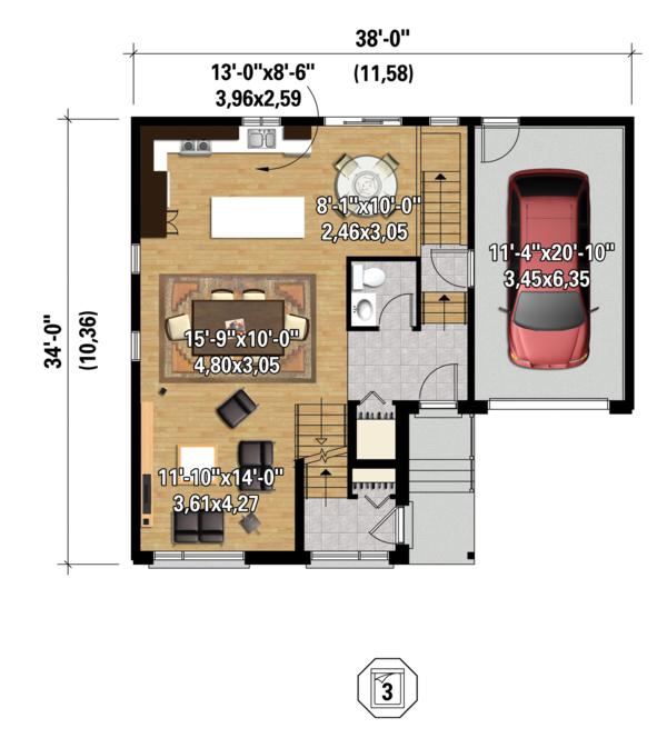 Contemporary Floor Plan - Main Floor Plan Plan #25-4401