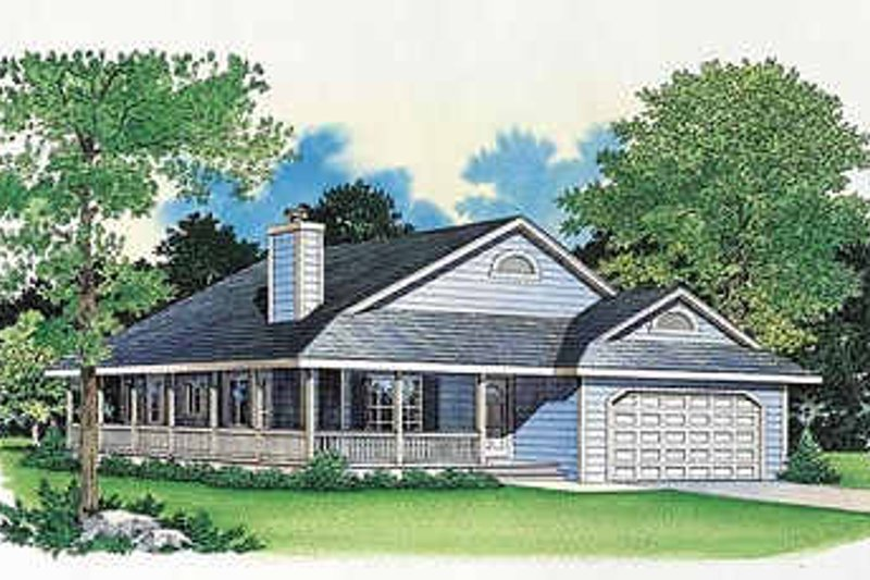 House Blueprint - Farmhouse Exterior - Front Elevation Plan #72-105