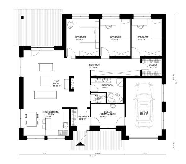 Bungalow Floor Plan - Main Floor Plan Plan #906-10