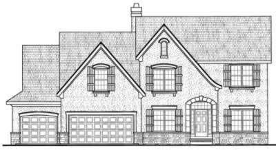 European Style House Plan - 3 Beds 3 Baths 2958 Sq/Ft Plan #20-1720 Exterior - Front Elevation