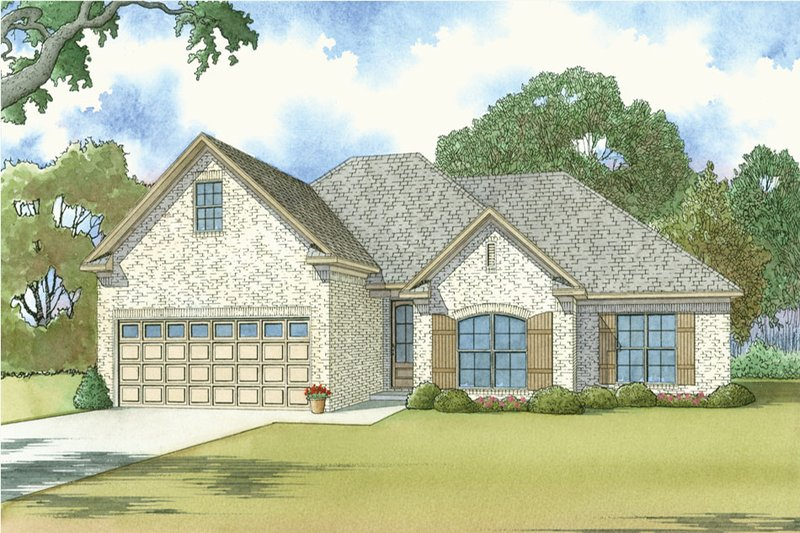 European Style House Plan - 3 Beds 2 Baths 1640 Sq/Ft Plan #923-38 Exterior - Front Elevation