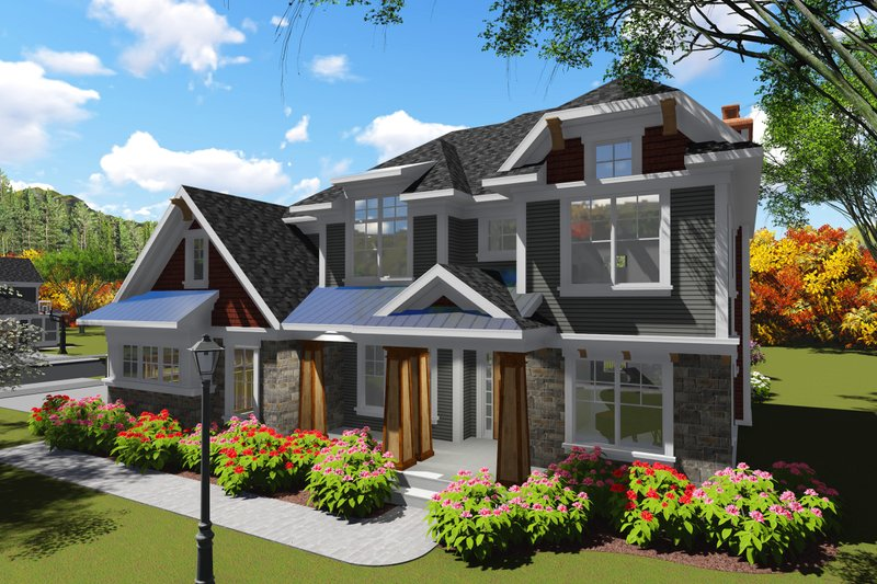 Home Plan - Craftsman Exterior - Front Elevation Plan #70-1253